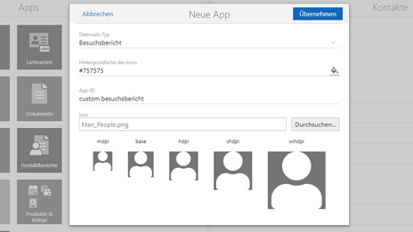 Modul App Designer - Neue App
